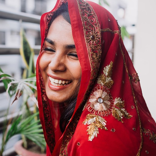 Bangladeshi woman with radiant skin during pregnancy is though to be carrying a girl