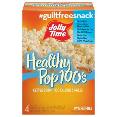 jolly time microwave popcorn healthy pop 100 calorie butter mini bags 4 1 2 oz