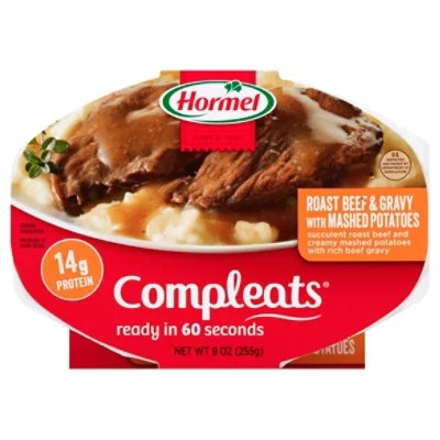 hormel compleats microwave meals homestyle roast beef gravy with mashed potatoes 9 oz