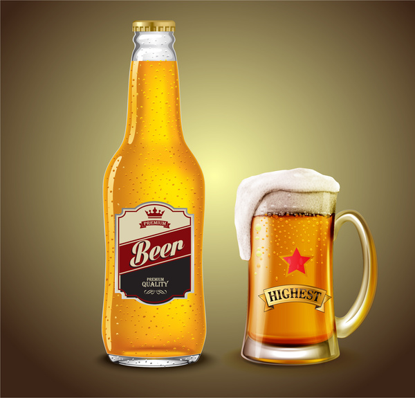 Download Beer bottle and glass Free vector in Adobe Illustrator ai ...