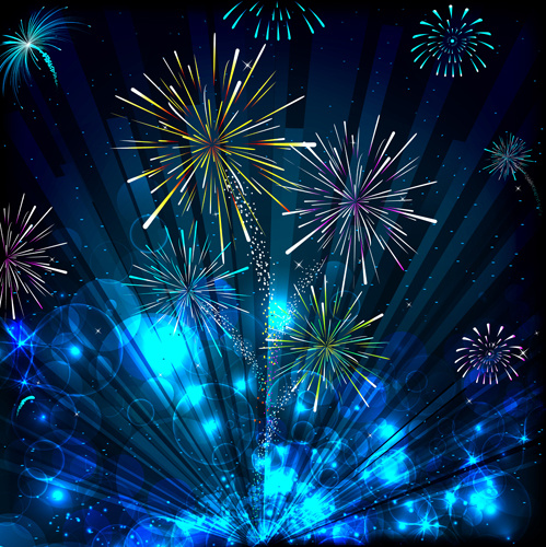 Colorful Festive Fireworks Design Vector Set Free Vector