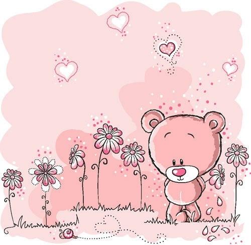 cute pink bear illustrator vector flowers line draft
