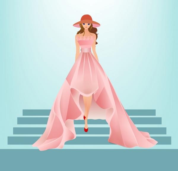Dress Fashion Design Colored Cartoon Sketch Free Vector In