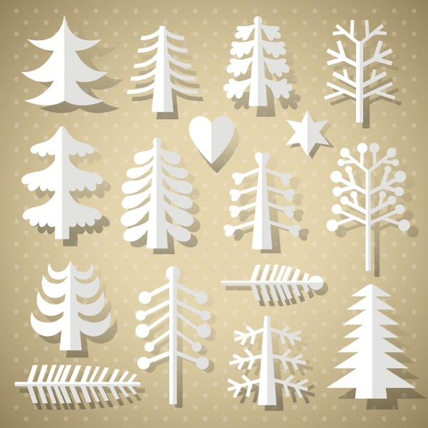 free vector christmas tree paper cutting different style