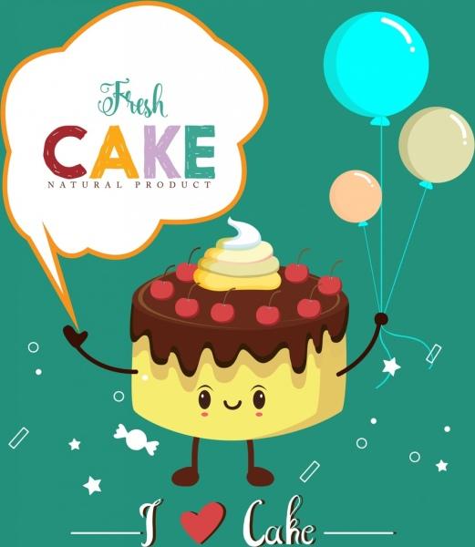 Fresh Cake Advertising Stylized Icon Cartoon Design Free