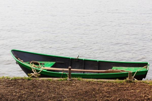 green boat