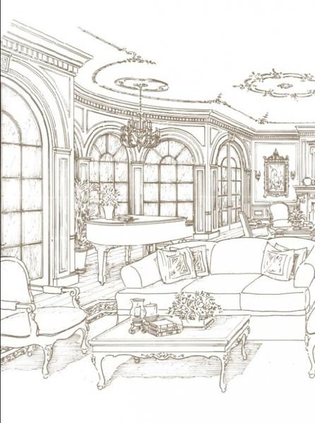 handpainted indoor home vector