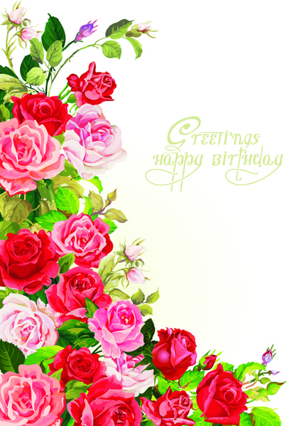 Happy Birthday Flowers Greeting Cards Free Vector In Encapsulated Postscript Eps Eps Vector Illustration Graphic Art Design Format Format For Free Download 948 41kb
