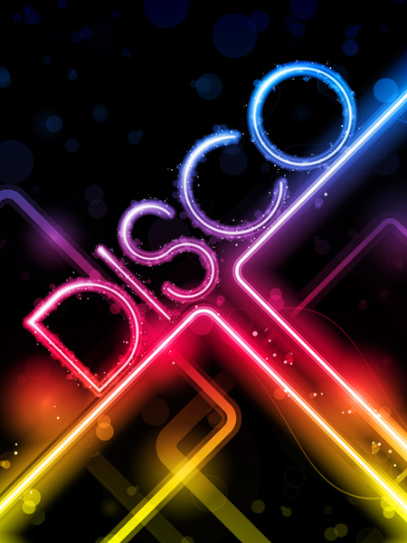 Neon Disco Music Party Flyers Design Vector Free Vector In
