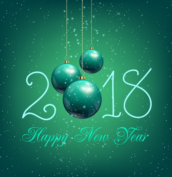 New year poster shiny green baubles texts decor Free vector in Adobe     new year poster shiny green baubles texts decor