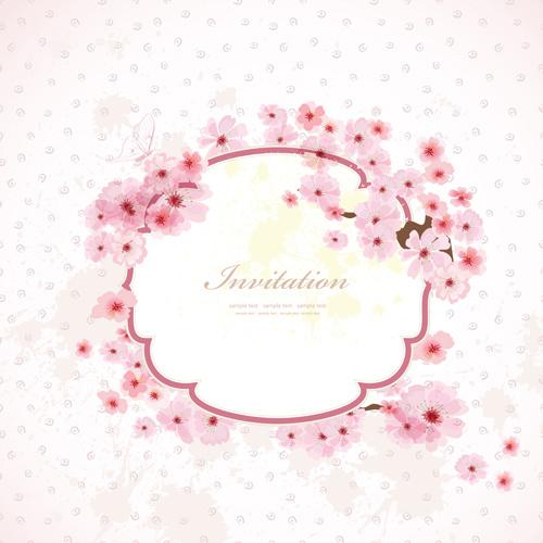 Pink Flower Frame Wedding Invitation Cards Vector
