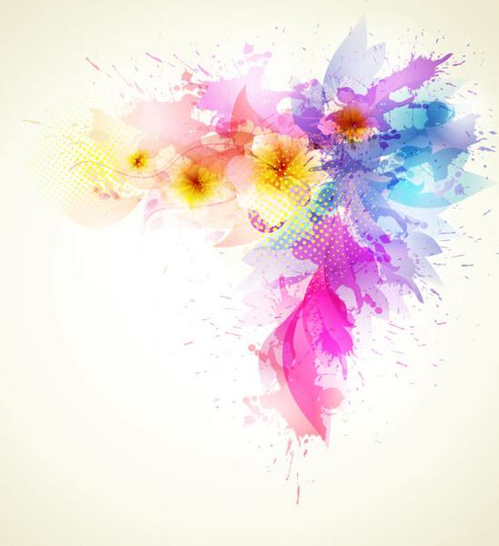 Splash Color Flower Backgrounds Vector Free Vector In