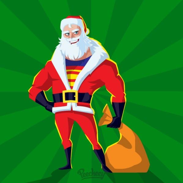 Super Santa Holiday Greeting Card Free Vector In Adobe