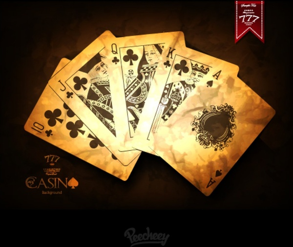 Vintage Casino Playing Cards Poster Free Vector In Adobe