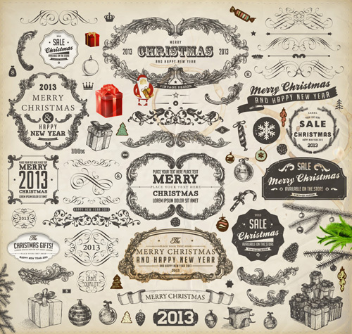 Vintage Christmas And New Year13 Ornaments Vector Free