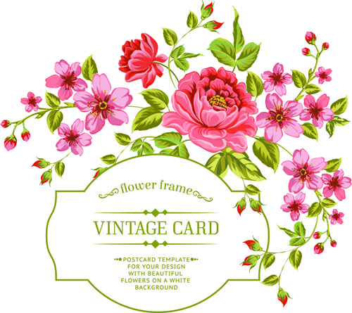 Vintage Flowers With Frame Card Vector Free Vector In