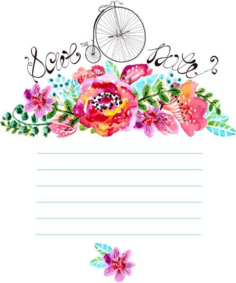 Watercolor Flower Wedding Invitation Vector Graphics