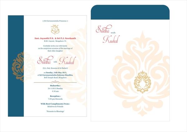wedding card design free vector in