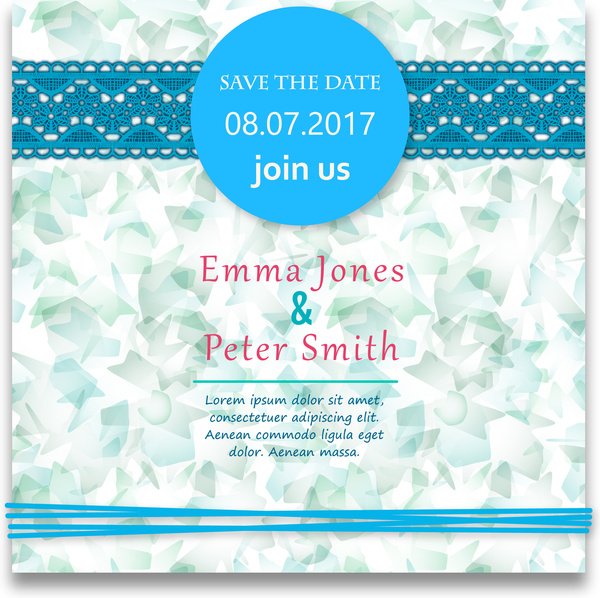 wedding card design with abstract blue