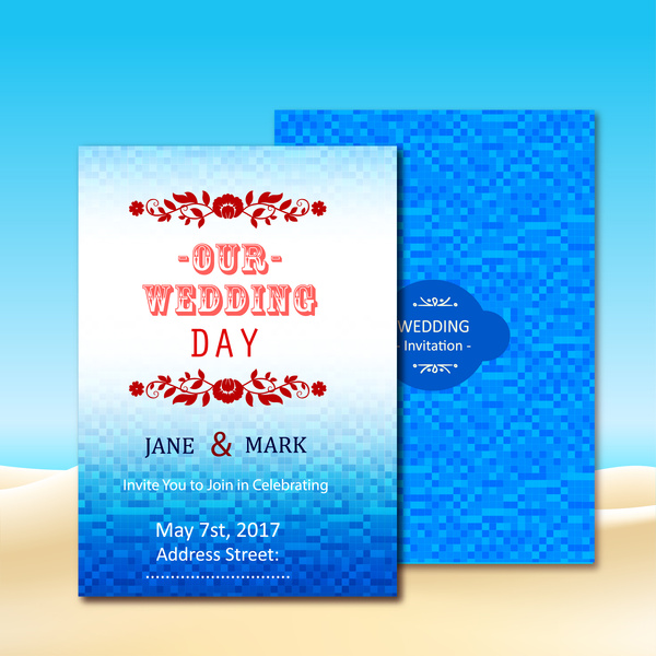 Wedding Invitation Card Design With Blue Bokeh Background Free Vector 5 44mb