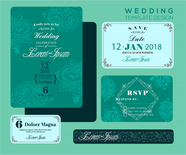 Wedding Invitation Card Design With Green Bokeh Background Free Vector 4 71mb