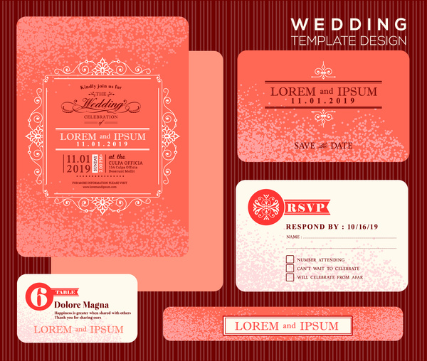 Wedding Invitation Card Design With Orange Bokeh Background