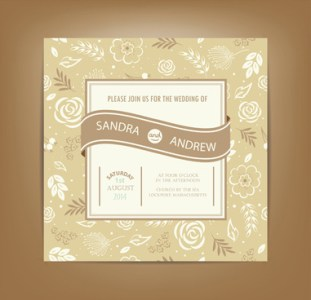Wedding card vector free vector download  13 334 Free vector  for     beige floral wedding cards vectors