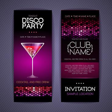 Disco Party Invitation Cards Creative Vector