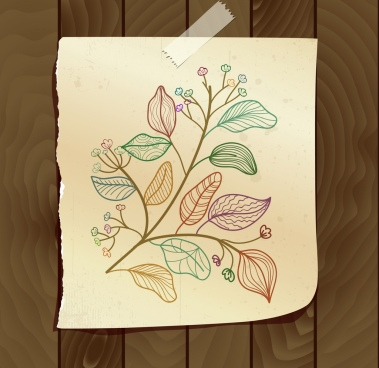 Vector flowers drawing color free vector download  116 908 Free     flowers leaves drawing colorful handdrawn sketch