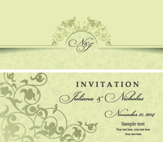 Retro Fl Wedding Invitation Cards Vector
