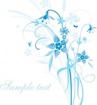 free royal blue flower invitation