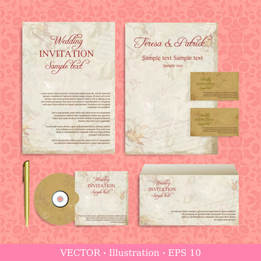 Wedding Invitation Card Design Ilrations With Retro Background