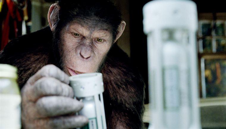 César (animé par Andy Serkis) découvre le traitement responsable de son intelligence