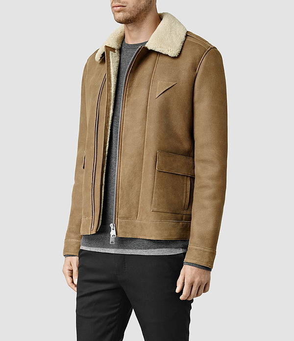 Men's Bedford Shearling Jacket (Sand) - product_image_alt_text_2