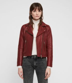 Womens Dalby Leather Biker Jacket (brick_red) - Image 1