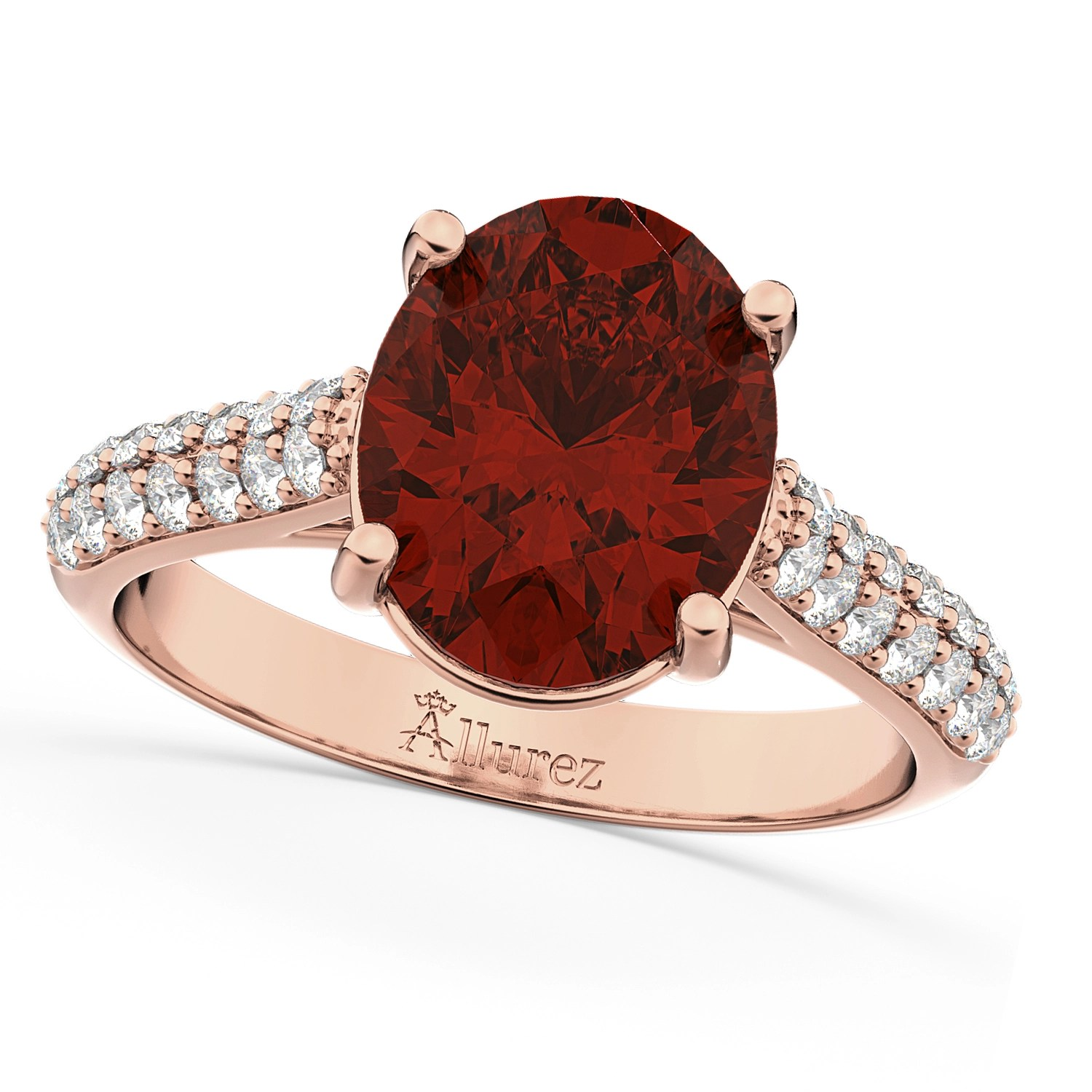 Oval Garnet Amp Diamond Engagement Ring 14k Rose Gold 4