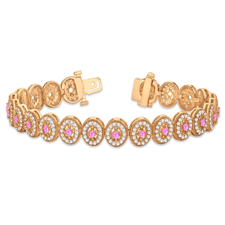 Pink Sapphire Halo Vintage Bracelet 18k Rose Gold 600ct