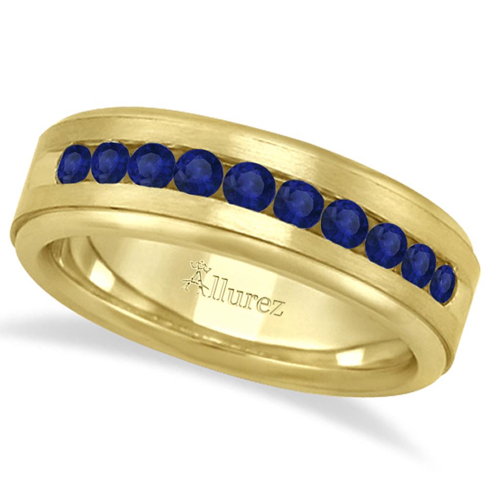 Mens Channel Set Blue Sapphire Wedding Band 18k Yellow