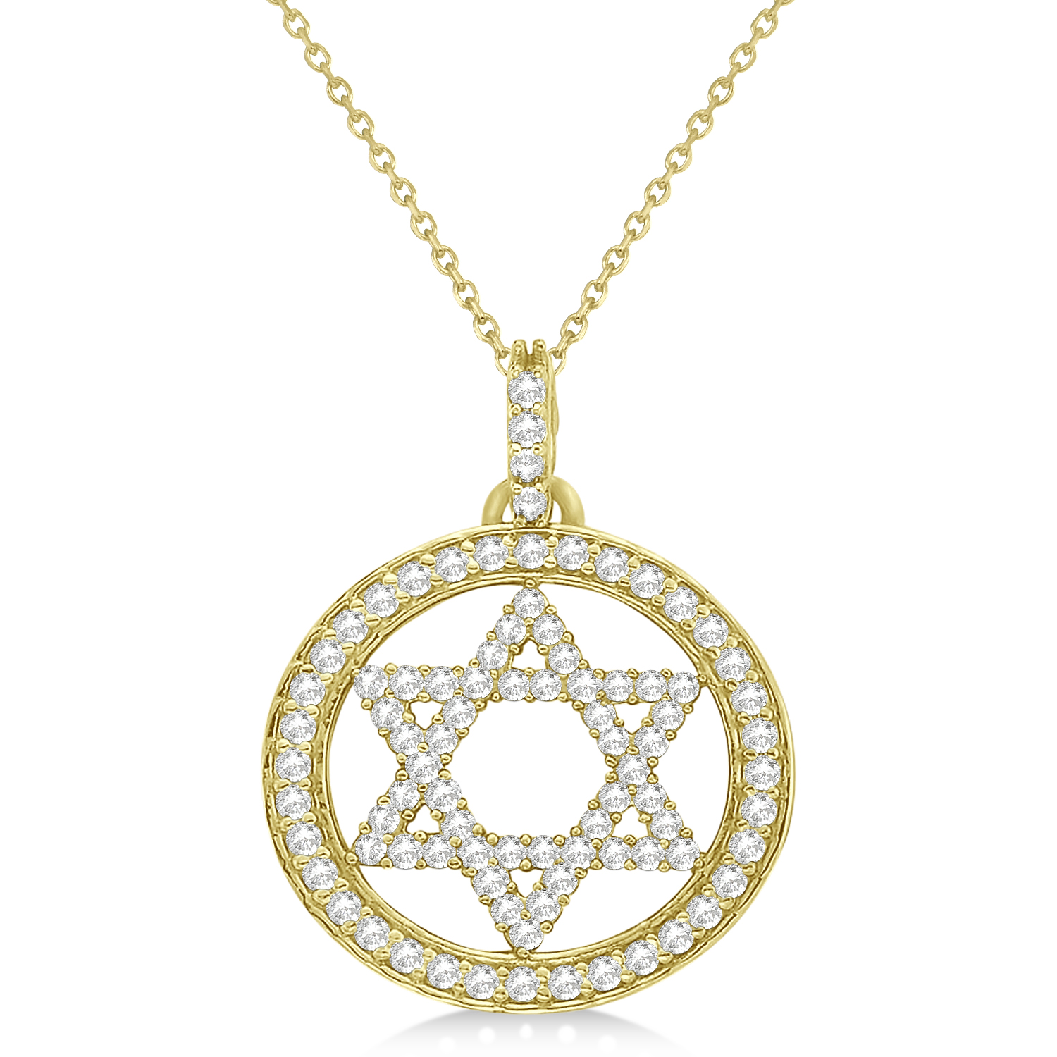 Star David Diamond Circle Pendant Necklace 14k Yellow Gold