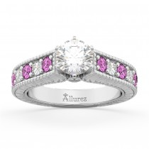 Vintage Diamond & Pink Sapphire Engagement Ring in 14k W Gold (1.41ct)