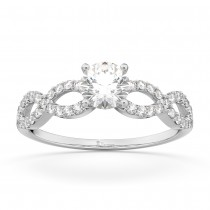 Twisted Infinity Diamond Engagement Ring Setting 18K White Gold (0.21ct)
