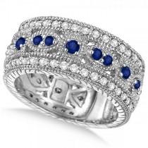 Vintage Byzantine Diamond & Blue Sapphire Ring 14k White Gold (1.37ct)