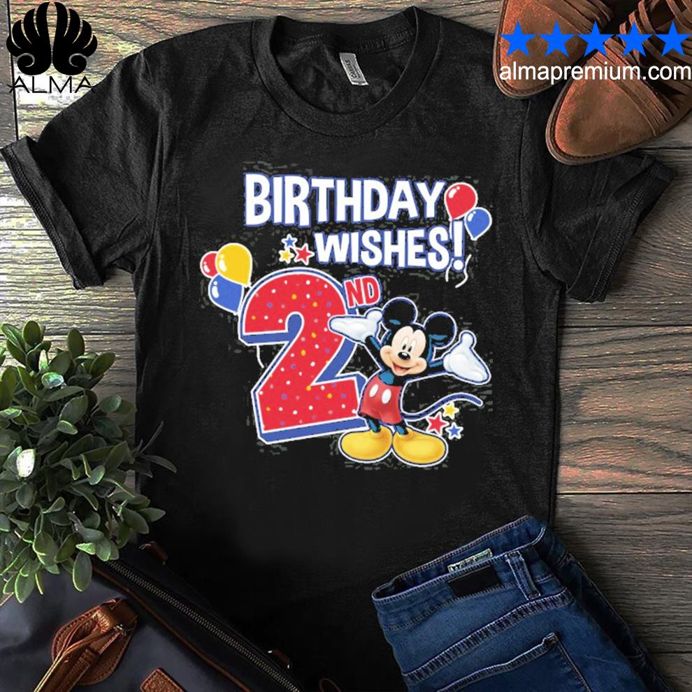 Mickey And Friends Mickey Mouse 2nd Birthday Wishes Shirt Hoodie Long Sleeve V Neck Tee