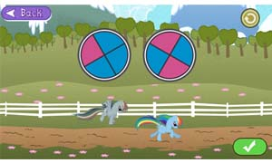 Which pony will win the race? Choose the spinner that moves the Ponies the furthest and fastest!