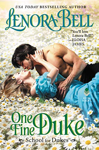 One Fine Duke by Lenora Bell. A woman in a light blue dress and a shirtless hero are lying in a dreamy field of daisies.