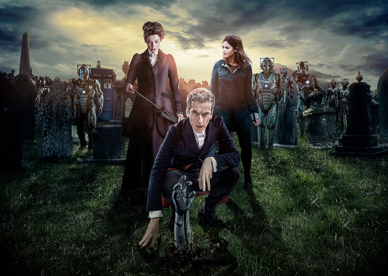 (From l to r) Michelle Gomez, Peter Capaldi, and Jenna Coleman. (Photo: BBC AMERICA)