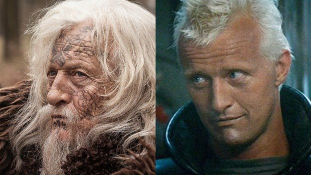 Rutger Hauer in 'The Last Kingdom' (left) and 'Blade Runner'. (Photos: BBCA/Warner Bros.)