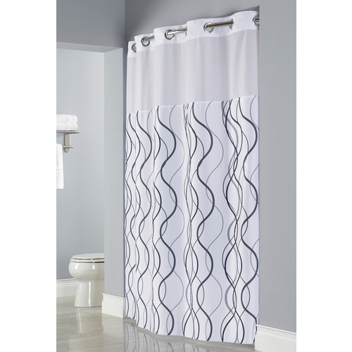 hookless waves shower curtain 71 w x 77 l snap in liner