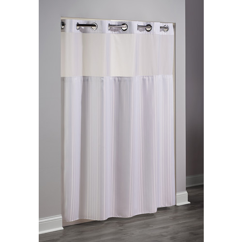 hookless double h chevron shower curtain 71x77 white