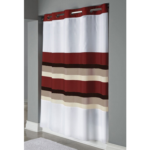 focus shower curtain white red 71 x 74 arcs and angles